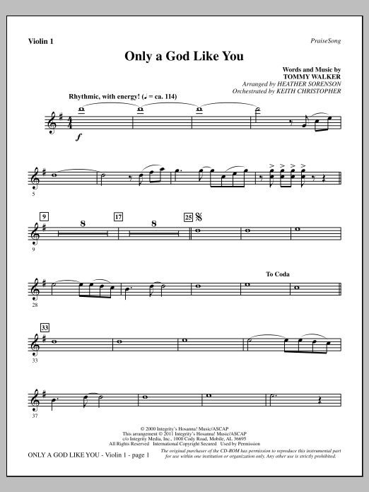 Only A God Like You - Violin 1 Sheet Music