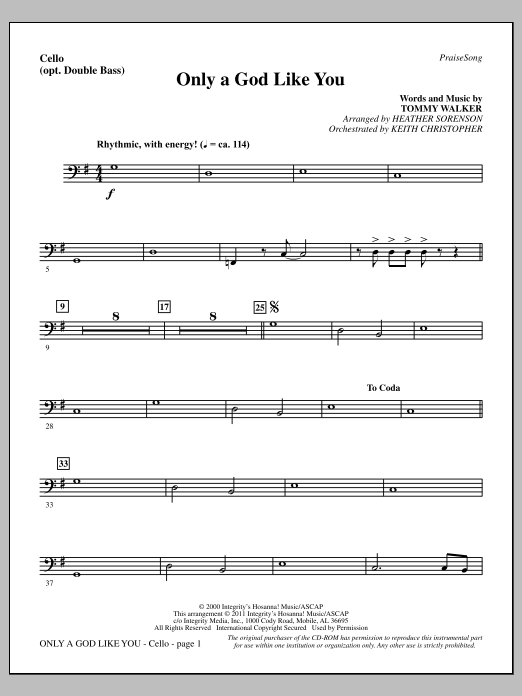 Only A God Like You - Cello/Bass Sheet Music