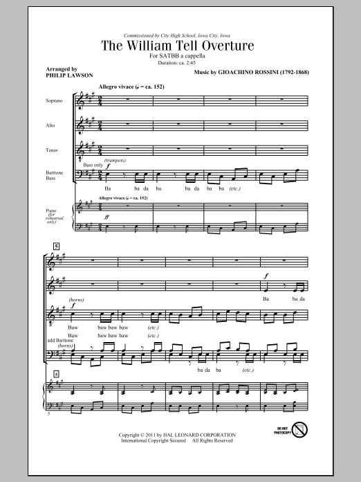 page one of The William Tell Overture (arr. Philip Lawson)ASALTTEXT