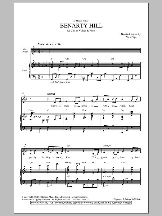 Benarty Hill (Unison Choir)