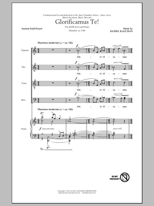 Partition chorale Glorificamus Te! de Daniel Kallman - SATB