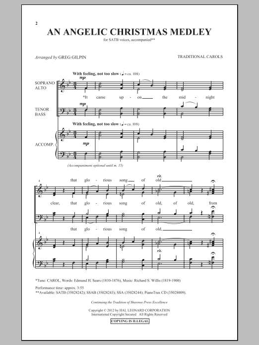 Partition chorale An Angelic Christmas Medley de Greg Gilpin - SATB