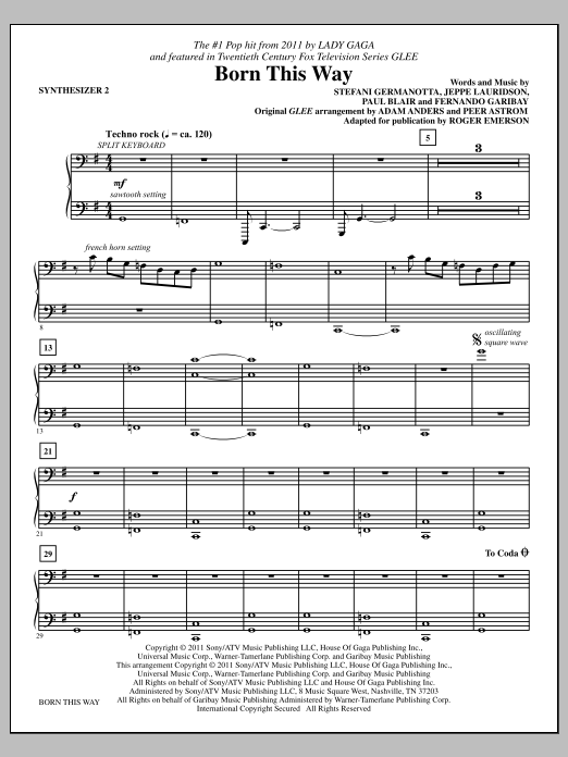 Born This Way - Synthesizer II Sheet Music