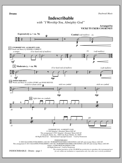 Indescribable - Drums Sheet Music