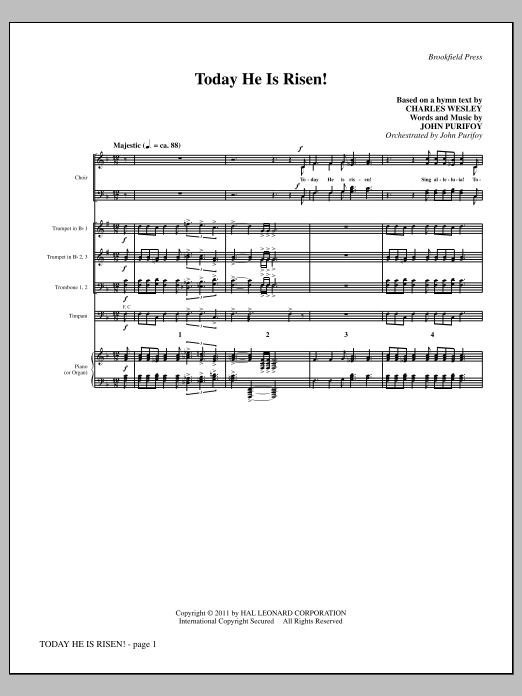 Today He Is Risen! (complete set of parts) sheet music for orchestra/band (chamber ensemble) by John Purifoy and Charles Wesley. Score Image Preview.