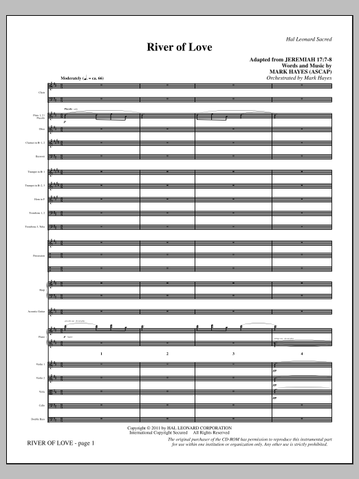 River Of Love (complete set of parts) sheet music for orchestra/band (Orchestra) by Mark Hayes. Score Image Preview.