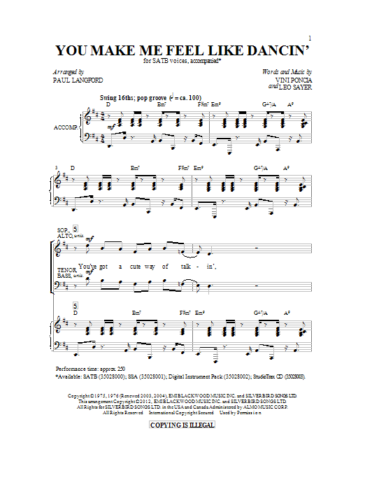 Partition chorale You Make Me Feel Like Dancing de Paul Langford - SATB