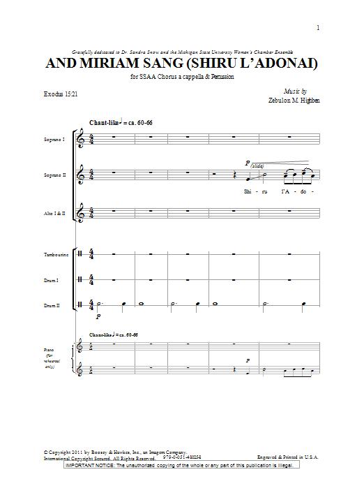 And Miriam Sang (Shiru L'Adonai) (SSA Choir)