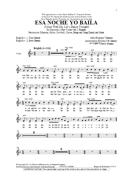 Esa Noche Yo Baila (Come With Me, Let's Dance Tonight) (2-Part Choir)