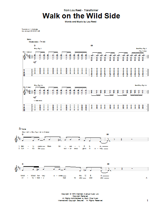 Tablature guitare Walk On The Wild Side de Lou Reed - Tablature Guitare