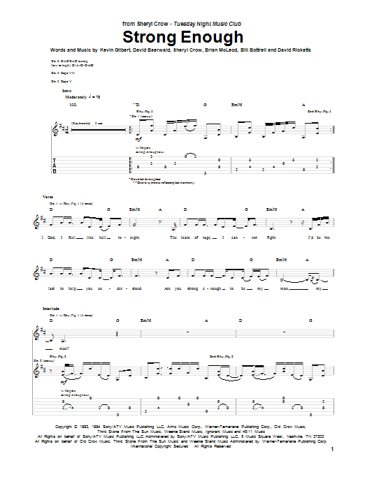 Tablature guitare Strong Enough de Sheryl Crow - Tablature Guitare