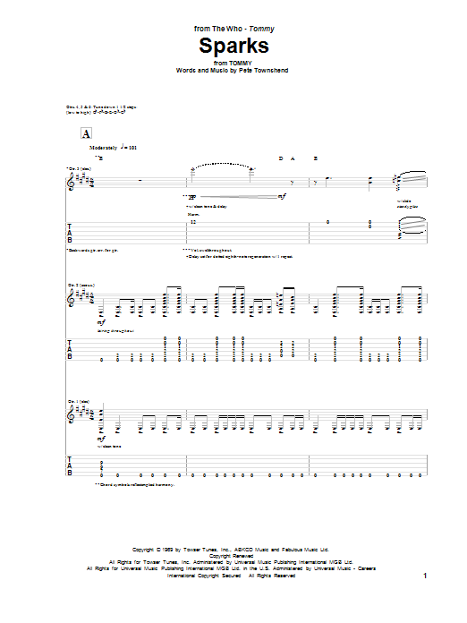 Tablature guitare Sparks de The Who - Tablature Guitare