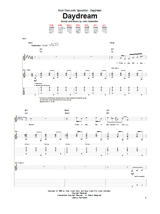 Tablature guitare Daydream de The Lovin' Spoonful - Tablature Guitare
