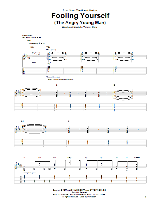 Tablature guitare Fooling Yourself (The Angry Young Man) de Styx - Tablature Guitare