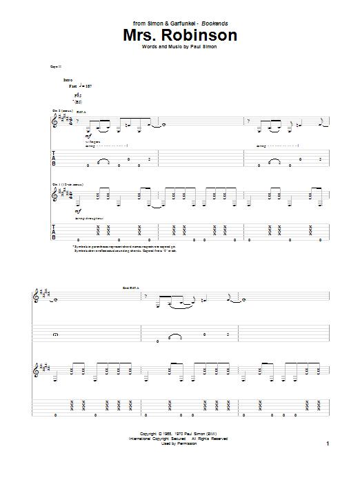 Mrs. Robinson (Guitar Tab)