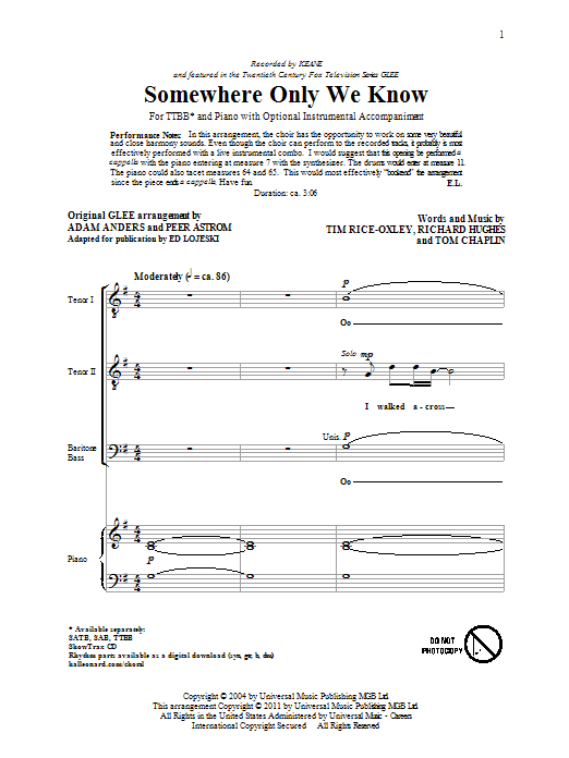 Somewhere Only We Know (arr. Ed Lojeski) Sheet Music