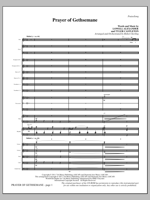 Prayer Of Gethsemane (complete set of parts) sheet music for orchestra/band (chamber ensemble) by Lowell Alexander and Robert Sterling. Score Image Preview.