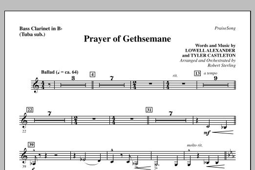 Prayer Of Gethsemane - Bass Clarinet (sub. Tuba) (Choir Instrumental Pak)