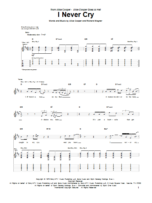 Tablature guitare I Never Cry de Alice Cooper - Tablature Guitare