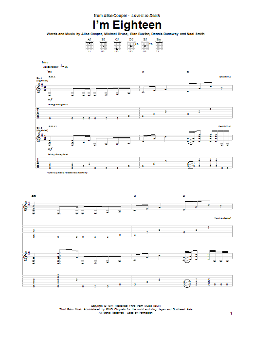 Im Eighteen By Alice Cooper Guitar Tab Guitar Instructor
