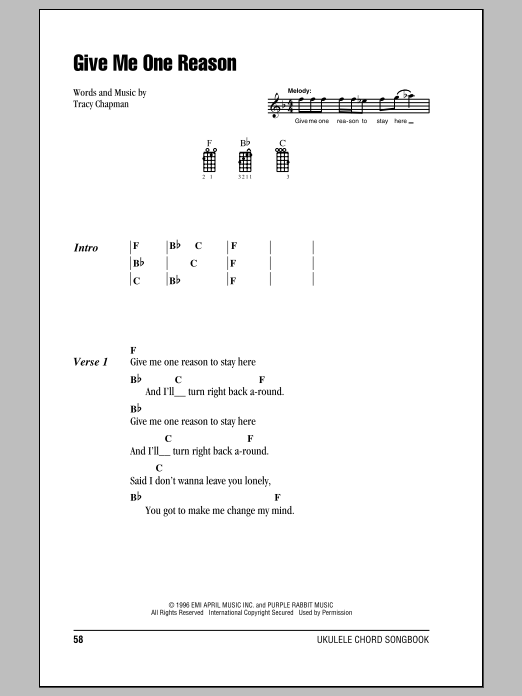Tablature guitare Give Me One Reason de Tracy Chapman - Ukulele (strumming patterns)