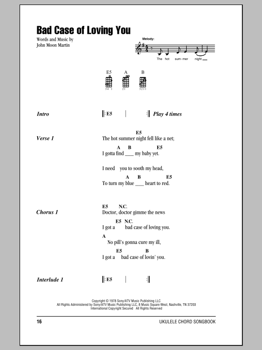 Bad Case Of Loving You Sheet Music
