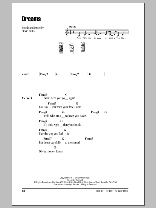 Tablature guitare Dreams de Fleetwood Mac - Ukulele (strumming patterns)