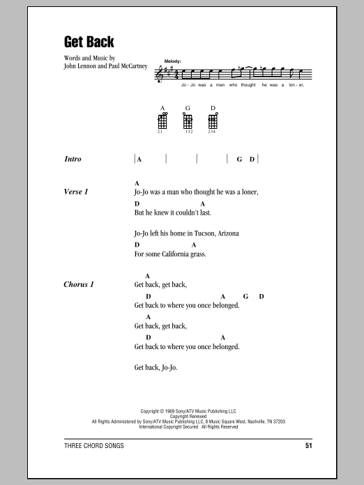 Tablature guitare Get Back de The Beatles - Ukulele (strumming patterns)