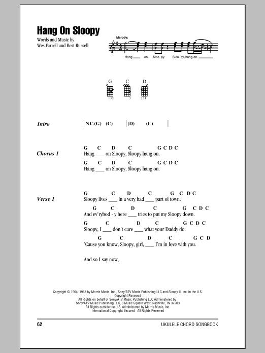 Tablature guitare Hang On Sloopy de The McCoys - Ukulele (strumming patterns)