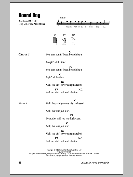Tablature guitare Hound Dog de Elvis Presley - Ukulele (strumming patterns)