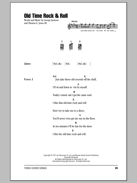 Old Time Rock Roll Sheet Music Bob Seger Ukulele Chordslyrics