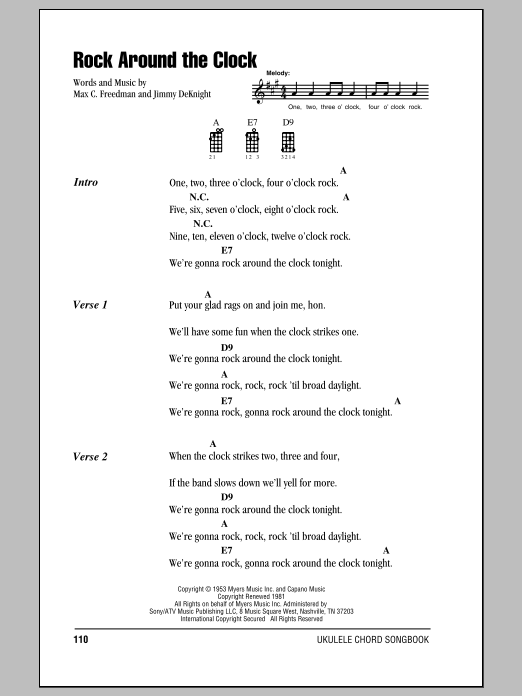 Tablature guitare Rock Around The Clock de Bill Haley & His Comets - Ukulele (strumming patterns)
