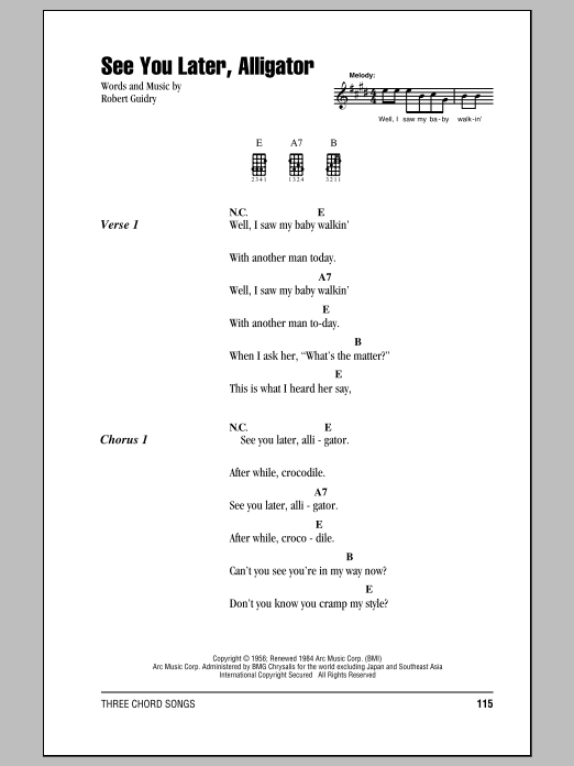 Tablature guitare See You Later, Alligator de Bill Haley & His Comets - Ukulele (strumming patterns)