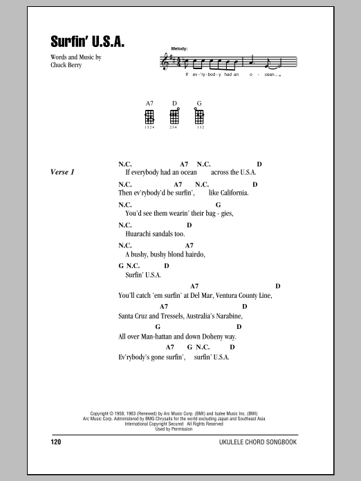 Surfin Usa Sheet Music The Beach Boys Ukulele With Strumming