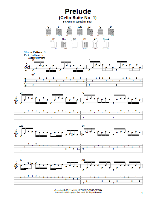 Prelude (Cello Suite No. 1) (Easy Guitar Tab)