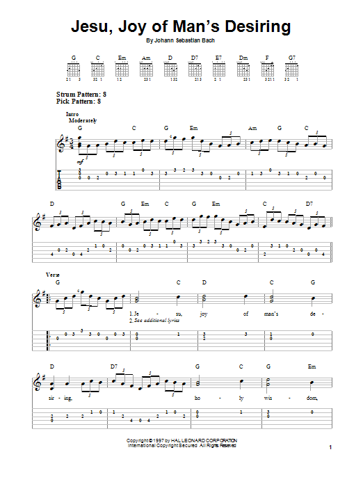 Tablature guitare Jesu, Joy Of Man's Desiring de Johann Sebastian Bach - Tablature guitare facile