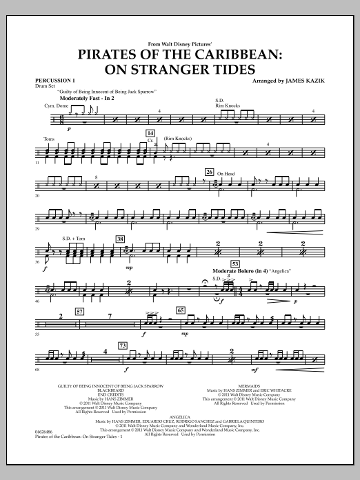 Pirates Of The Caribbean: On Stranger Tides - Percussion 1 (Orchestra)