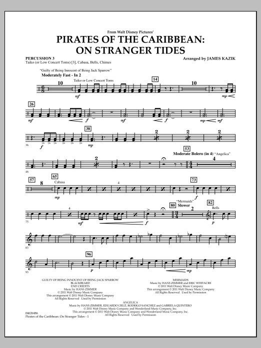 Pirates Of The Caribbean: On Stranger Tides - Percussion 3 (Orchestra)