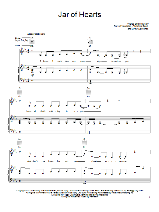 Jar Of Hearts | Sheet Music Direct