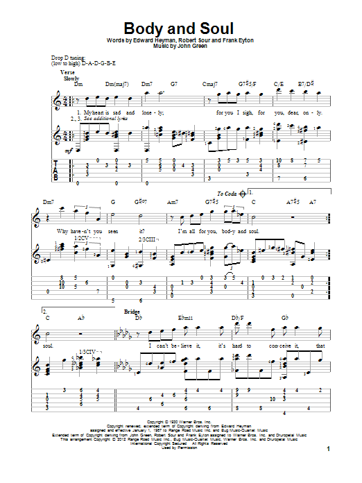 Tablature guitare Body And Soul de Edward Heyman - Tablature Guitare