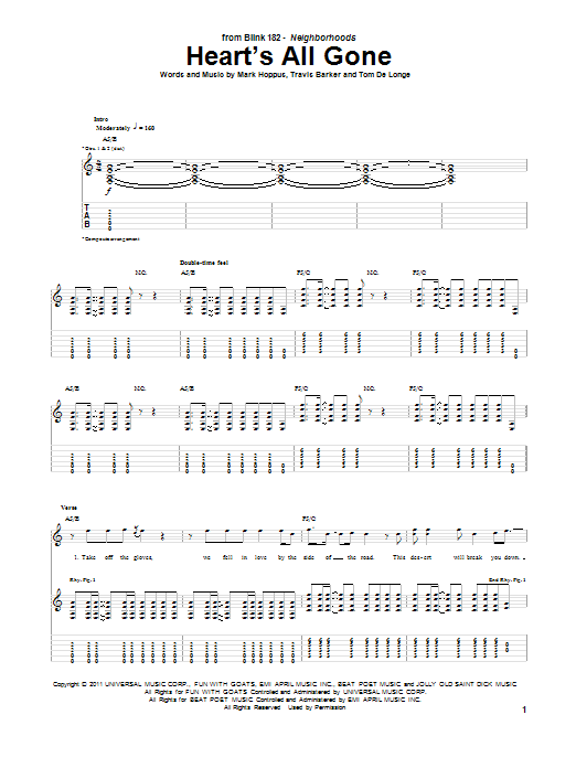 Heart's All Gone (Guitar Tab)
