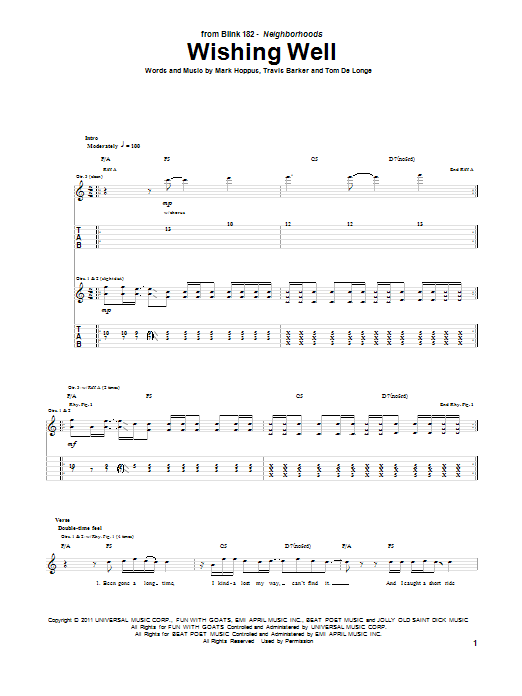 Tablature guitare Wishing Well de Blink-182 - Tablature Guitare