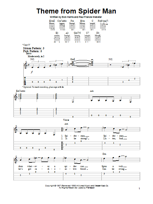 Theme From Spider-Man (Easy Guitar Tab)