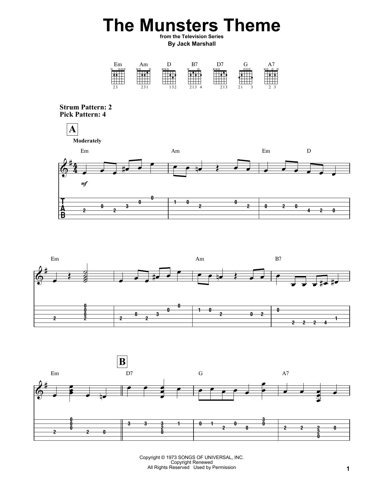 The Munsters Theme (Easy Guitar Tab)