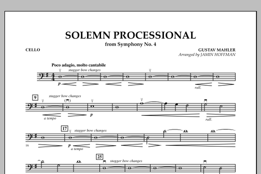 """Solemn Processional (from """"Symphony No. 4"""") - Cello (Orchestra)"""