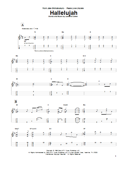 Hallelujah sheet music by Jake Shimabukuro (Ukulele – 87848)