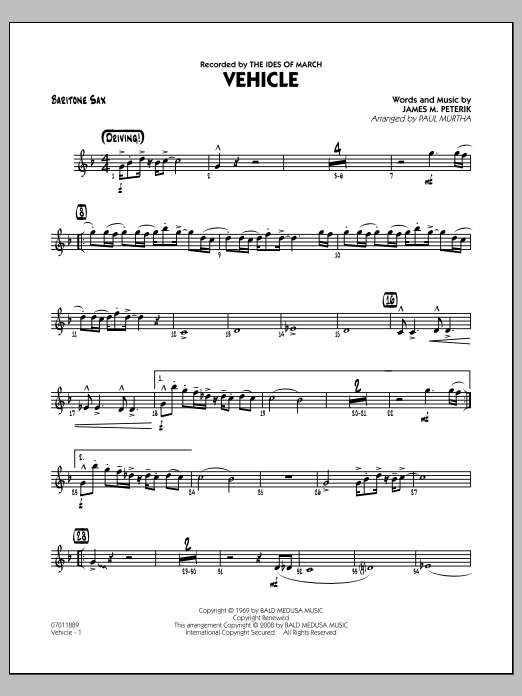 Vehicle - Baritone Sax (Jazz Ensemble)