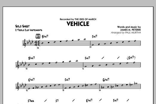Vehicle - C Solo Sheet (Jazz Ensemble)