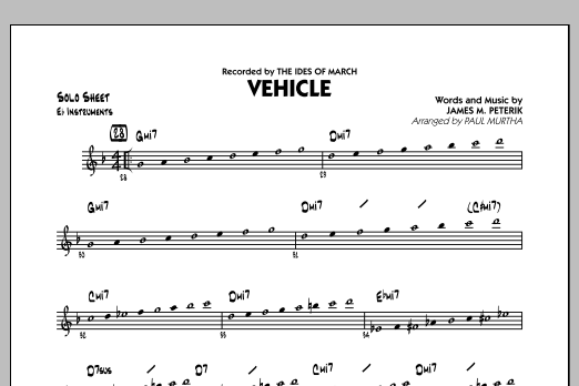 Vehicle - Eb Solo Sheet (Jazz Ensemble)