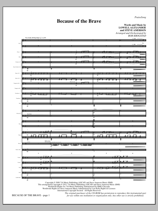 Because Of The Brave (complete set of parts) sheet music for orchestra/band (Orchestra) by Bob Krogstad and Lowell Alexander. Score Image Preview.